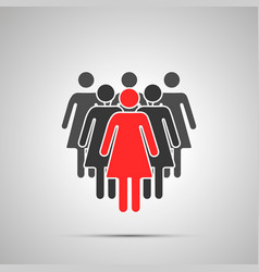 group women silhouettes with leader simple vector image