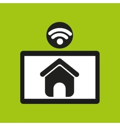 Hand hold tablet wifi web page icon vector