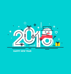Happy 2018 new year flat greeting card vector