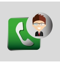 happy businessman telephone network media icon vector image