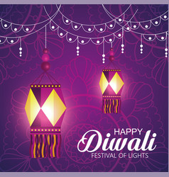 happy diwali festival of lights with lanterns vector image
