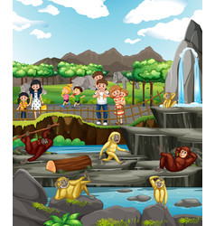 Happy family visit zoo vector