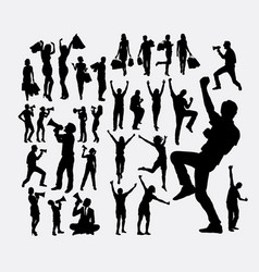 Happy people shopping using microphone silhouette vector