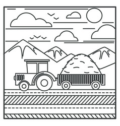 harvester or farm tractor carrying hay in carriage vector image