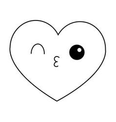 Heart flirting kawaii cartoon in black and white vector