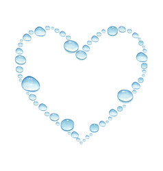 Heart with watercolor water drops vector