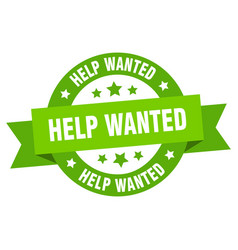 help wanted ribbon help wanted round green sign vector image