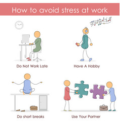 How to avoid stress at work vector