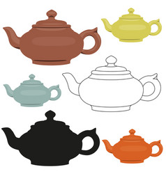 Isolated ceramic teapots set abstract vector