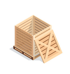 Isometric wooden box on pallet vector