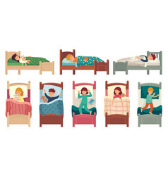 kids sleeping in beds child sleeps in bed on vector image