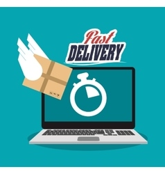 Laptop and delivery design vector