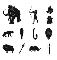 Life in the stone age black icons in set vector