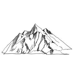 Line art or sketch of a mountain vector