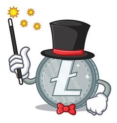 magician litecoin character cartoon style vector image