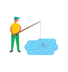 male fishing in lake isolated fisher rod vector image