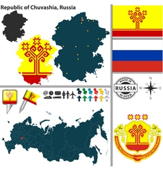 Map of Republic of Chuvashia vector image