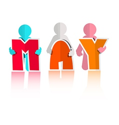 May Colorful Paper Cut Title and Men vector image