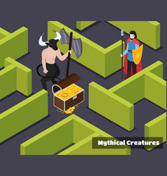 Mythical creatures isometric composition vector