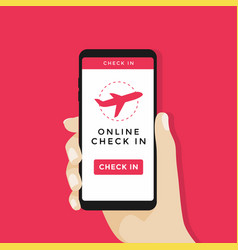 online check in on smartphone vector image