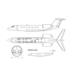 Outline private airplane bluteprint side and top vector