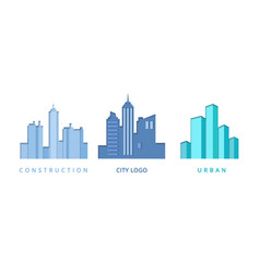 paper cut out logo set with city buildings vector image