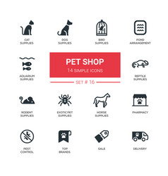 Pet shop - modern simple thin line design icons vector