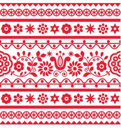 Polish folk art seamless embroidery pattern vector