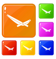 Recliner icons set color vector