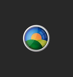 Rural landscape logo 3d view in glass vector