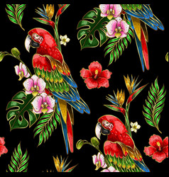 seamless pattern with ara parrot embroidery vector image