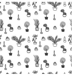 seamless pattern with houseplants vector image