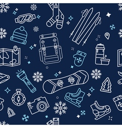 Seamless Winter Adventure Pattern vector image