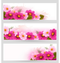 set holiday banners with colorful flowers vector image