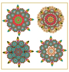 Set isolated of decorative circular pattern floral vector image