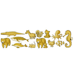 set many animals in yellow vector image