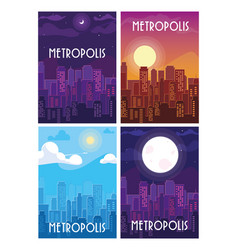 Set metropolis cityscape buildings scenes vector