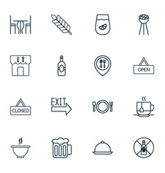 Set of 16 cafe icons includes ale cutlery vector