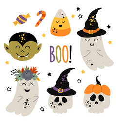 set of isolated halloween characters ghost skull vector image