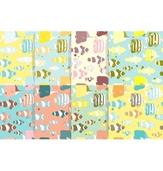 Set of Seamless patterns with marine fishes vector