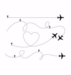 set planes path with location pins heart vector image