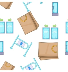 Shop pattern cartoon style vector