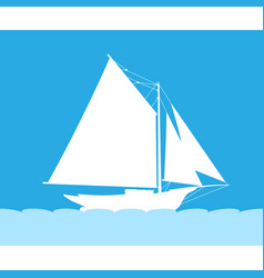 Silhouette of sailboat in sea - side view vector