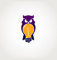 smart owl with bulb idea logo sign symbol icon vector image