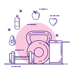 Smartphone with fitness and healthy lifestyle vector