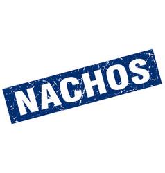 square grunge blue nachos stamp vector image