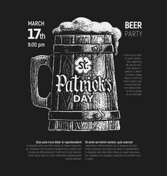 St patricks day written on wooden beer mug chalk vector