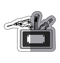 Sticker silhouette rectangle metallic frame with vector
