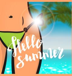 summer time card sexy woman pink bikini vector image