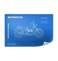 Technical with motorbike drawing on vector image